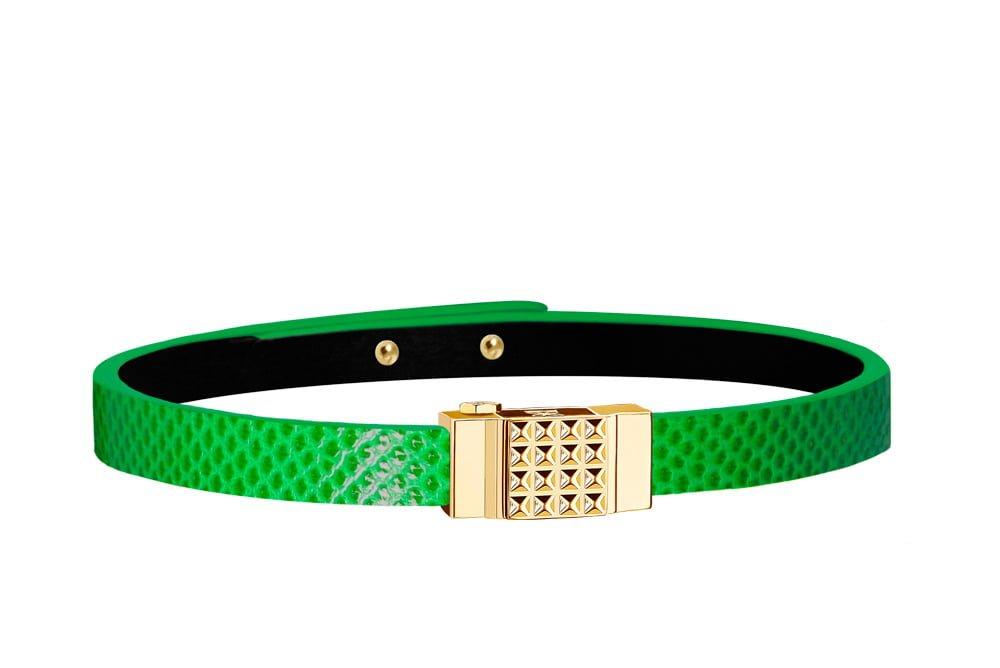 Bracelet cuir femme simple tour vert électrique