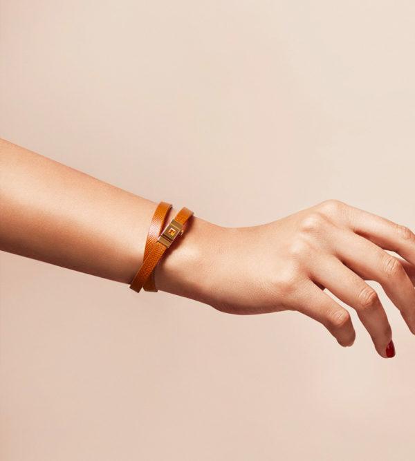 Bracelet femme double tour cuir camel