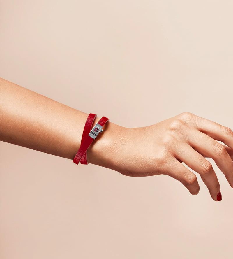 Bracelet double tour cuir rouge