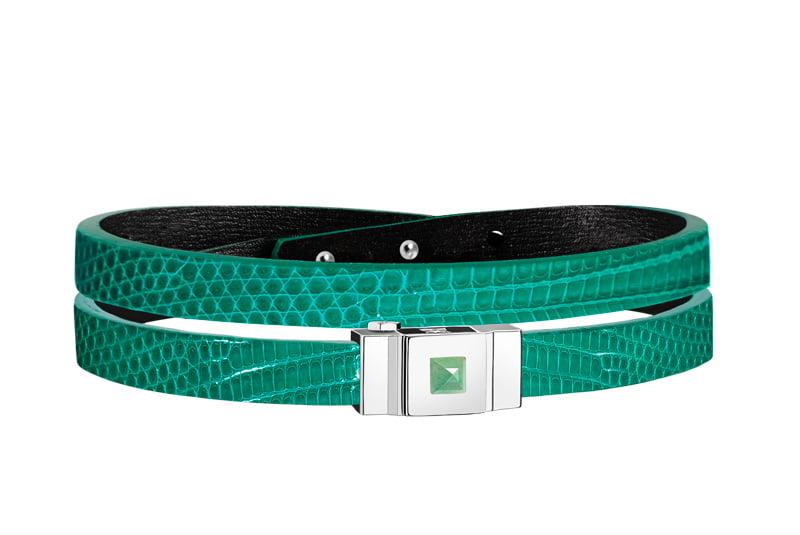 Bracelet cuir femme double tour lézard vert