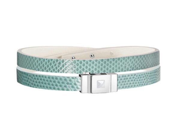 Bracelet cuir femme double tour vert d'eau