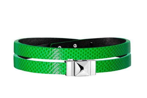 Bracelet cuir femme double tour vert électrique
