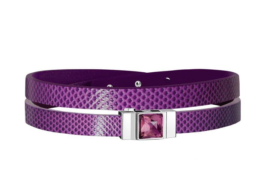 Bracelet cuir femme double tour violet