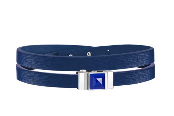 Bracelet cuir femme double tour bleu