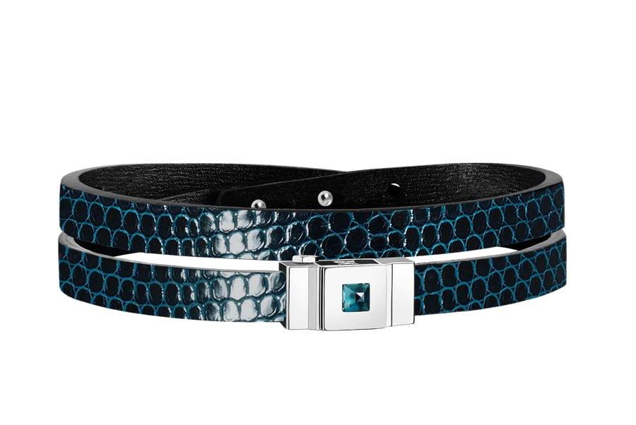Bracelet cuir femme double tour en lézard bleu
