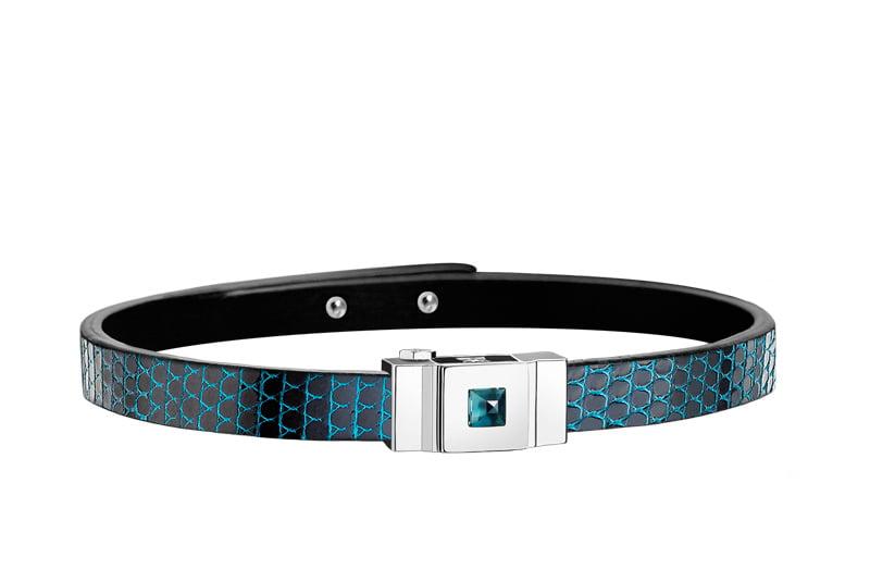 Bracelet femme simple tour en lézard bleu