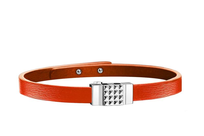 Bracelet femme simple tour en cuir orange