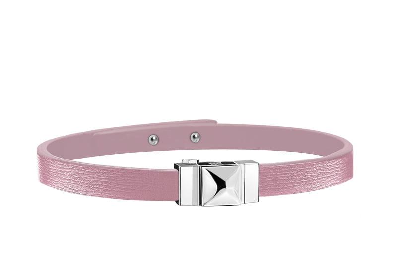 Bracelet femme simple tour en cuir rose