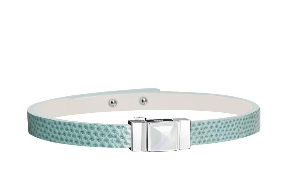 Bracelet cuir femme simple tour vert d'eau