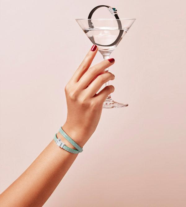 Bracelet double tour cuir vert d'eau