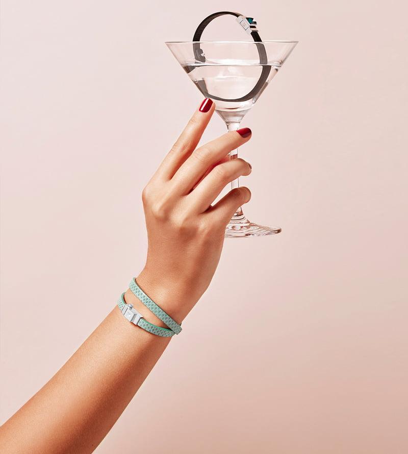 Bracelet femme double tour cuir vert d'eau