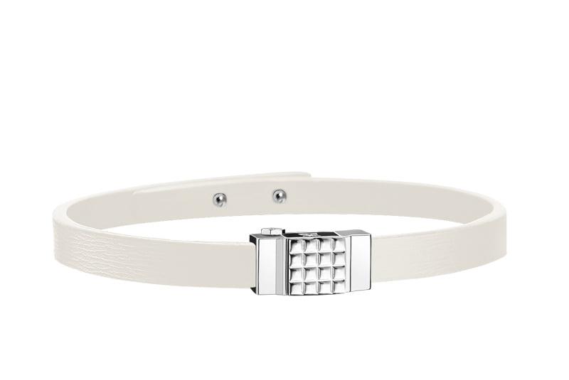 Bracelet homme en cuir blanc