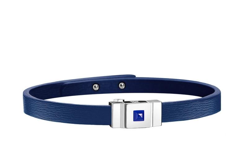 Bracelet homme en cuir bleu