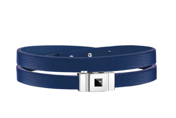 Bracelet homme double tour en cuir bleu