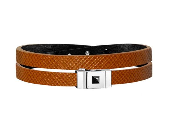 Bracelet homme double tour cuir de veau grainé camel
