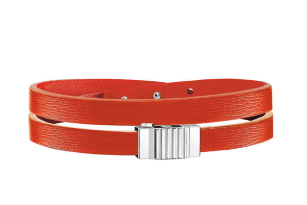 Bracelet homme double tour cuir orange