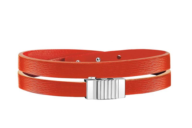 Bracelet homme double tour cuir orange