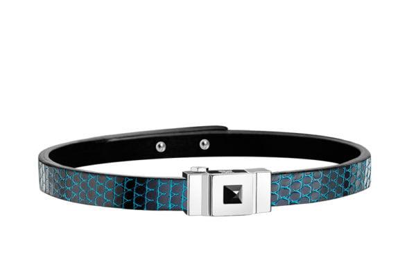 Bracelet homme en lézard bleu