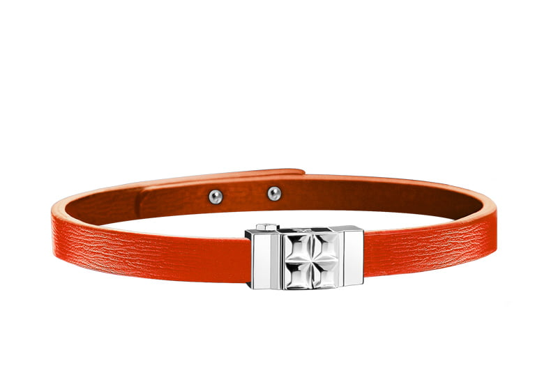 Bracelet homme cuir orange