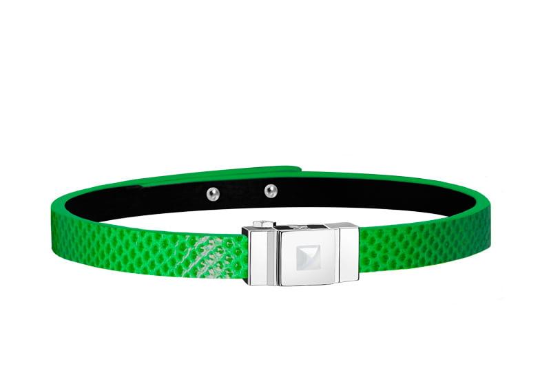 Bracelet homme cuir vert électrique