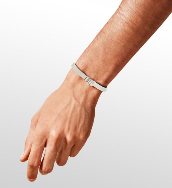 Bracelet homme cuir blanc