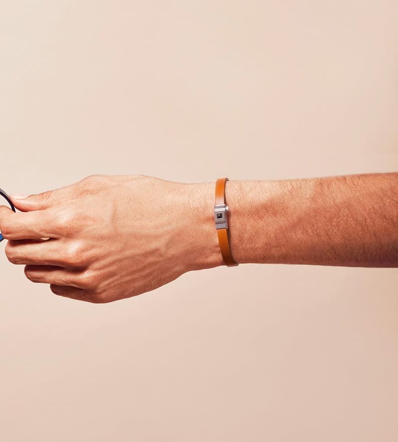 Bracelet homme cuir camel
