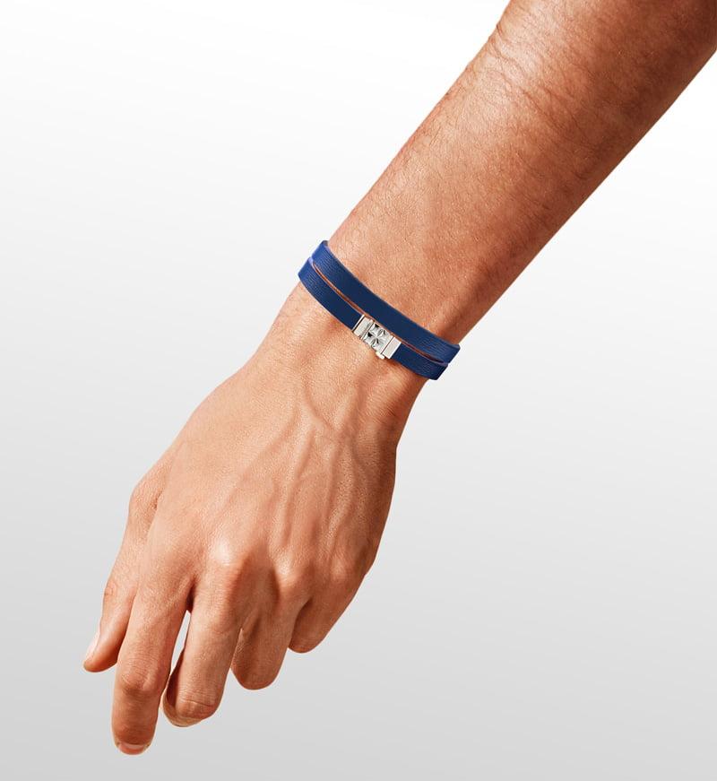 Bracelet homme double tour cuir bleu