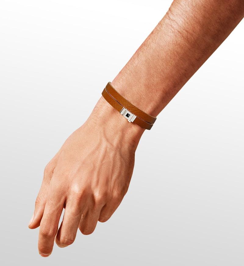 Bracelet homme double tour cuir camel
