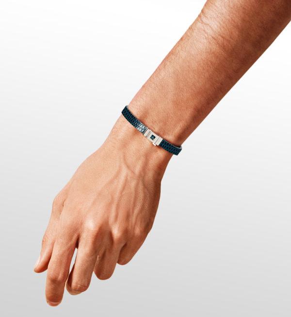 Bracelet homme cuir lézard bleu