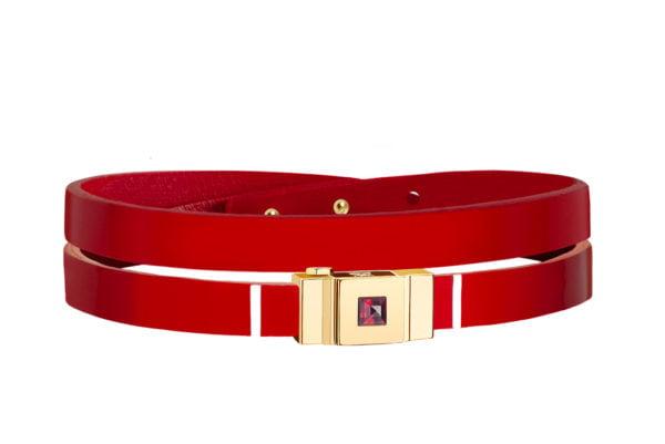 Bracelet cuir glossy rouge double tour