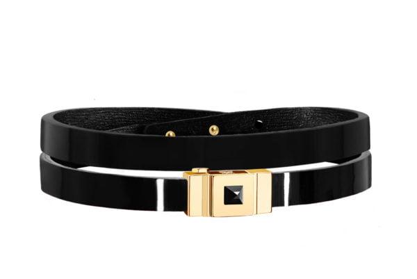 Bracelet cuir glossy noir double tour