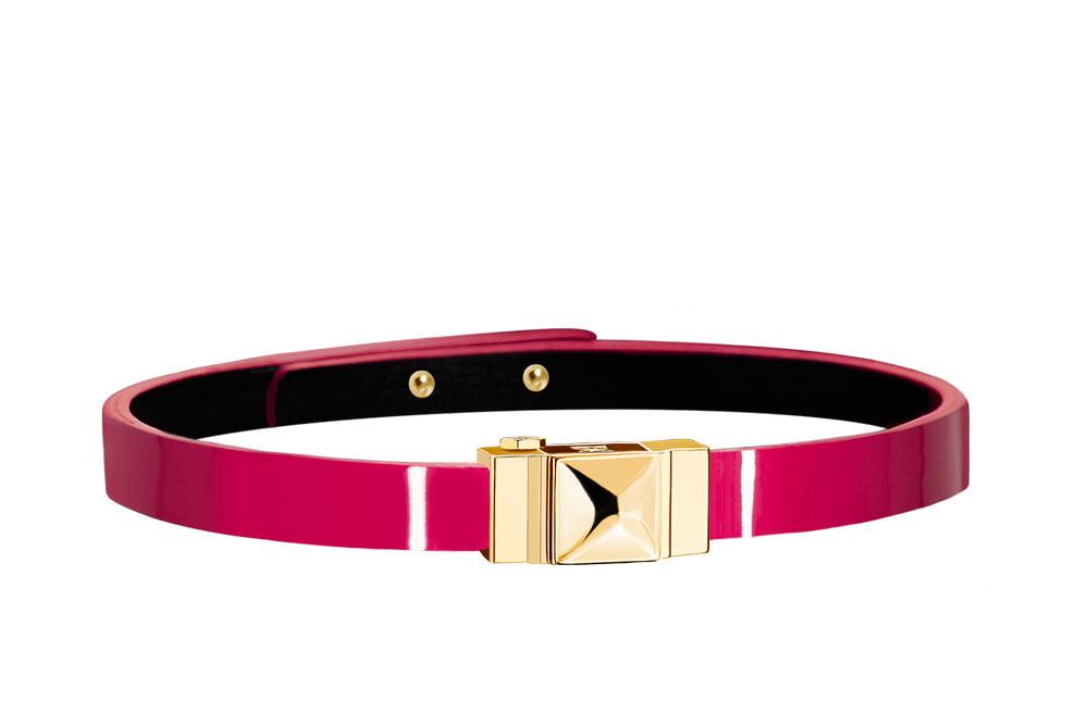 Bracelet cuir glossy fushia