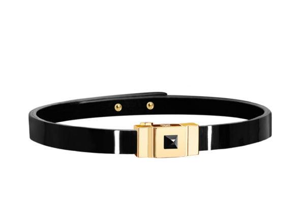 Bracelet cuir glossy noir