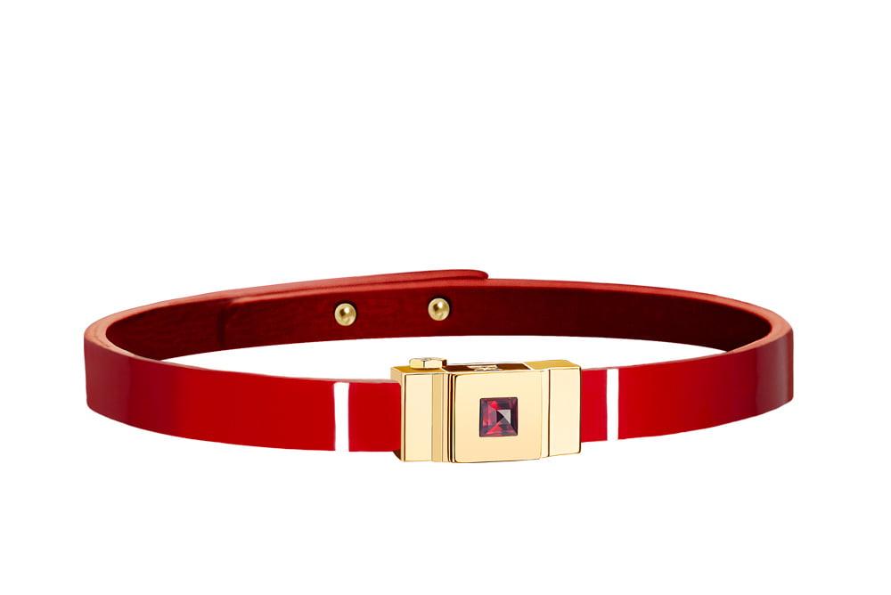 Bracelet cuir glossy rouge