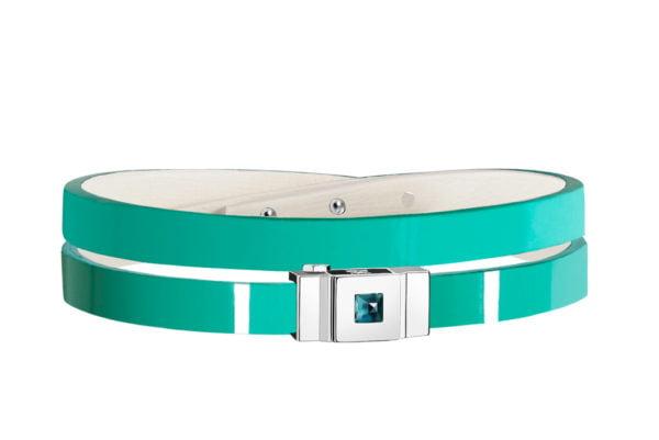 Bracelet cuir glossy vert menthe, double tour
