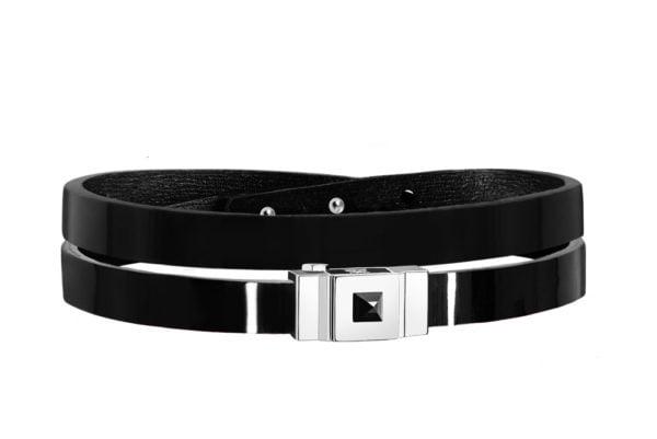 Bracelet cuir glossy noir, double tour