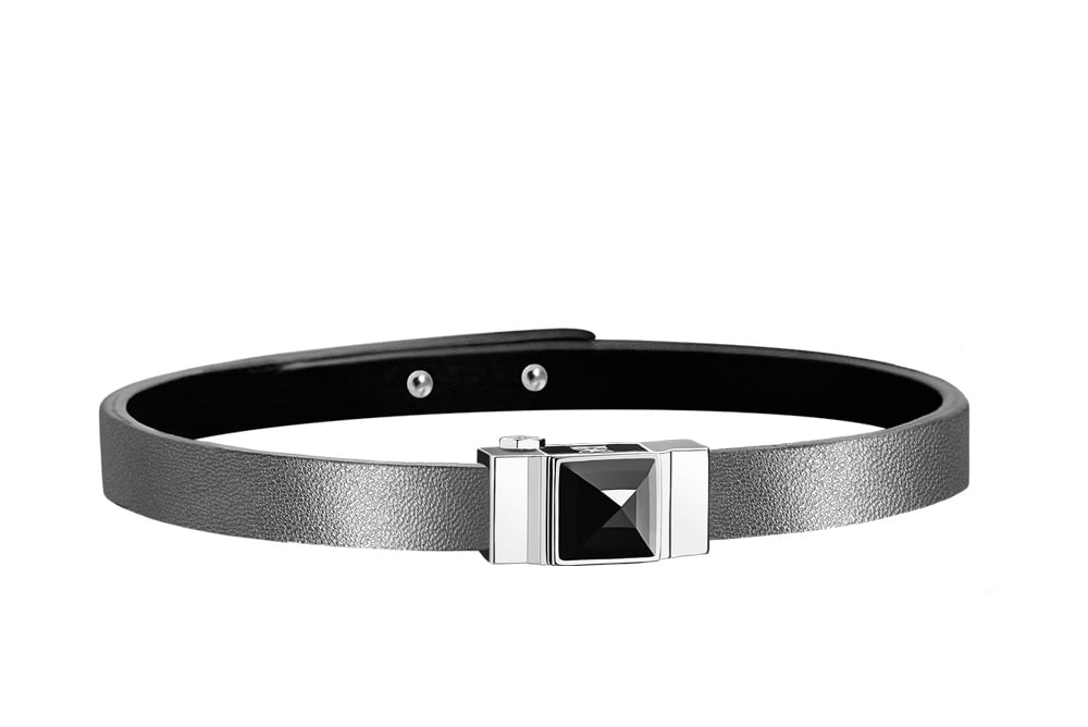 Bracelet cuir d'agneau argenté