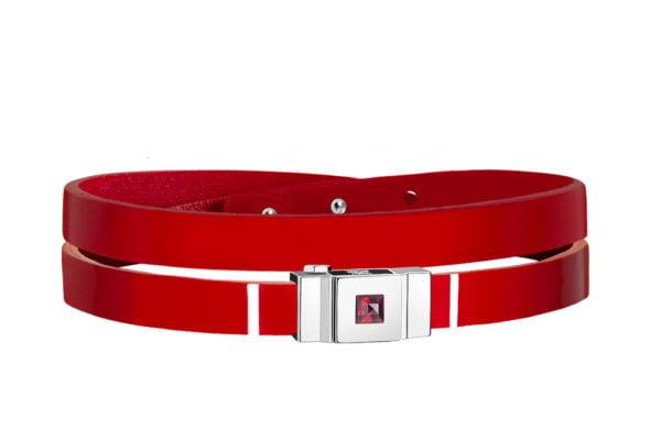 Bracelet cuir glossy rouge, double tour