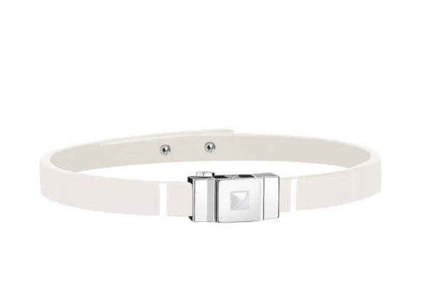 Bracelet cuir glossy blanc