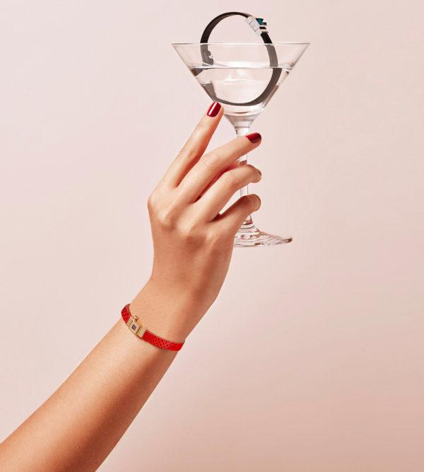 Bracelet personnalisable en cuir rouge coquelicot, simple tour.