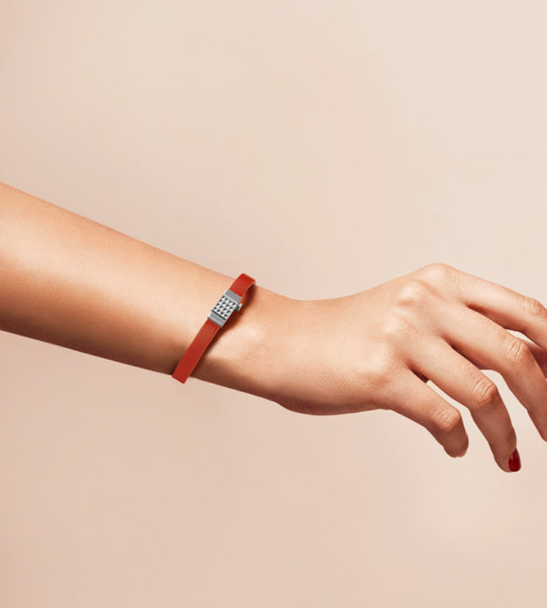 Bracelet personnalisable en cuir orange, simple tour.