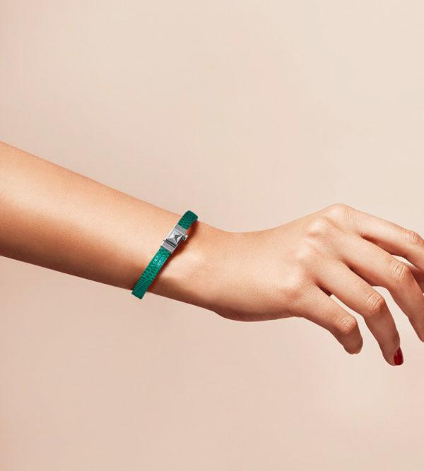 Bracelet personnalisable en lézard vert, simple tour.