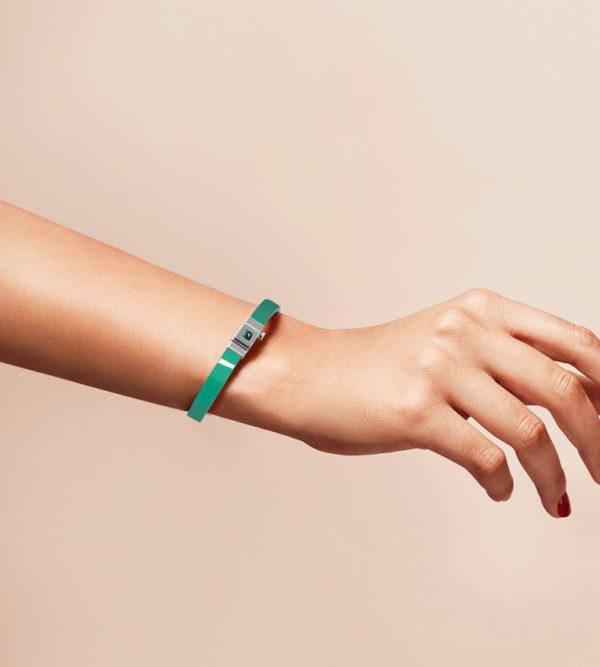 Bracelet personnalisable en cuir glossy vert menthe
